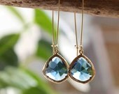 Blue Sapphire. Stunning 16k gold plated deep sea glass stone dangle earrings