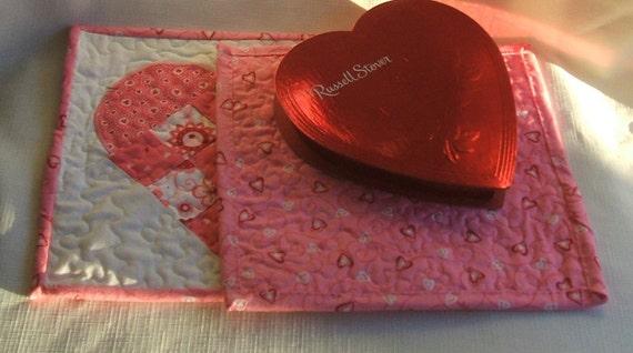 Valentine Heart Patchwork Mug Rug/Hot Pat-Set of 2-Reversible