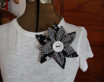 Sale - Fabric Flower Corsage, Black and White Floral Corsage, Brooch, Lapel Pin