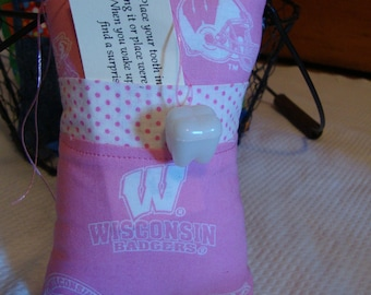 Tooth Fairy Pillow with tooth holder:  Wisconsin Badgers in Pink