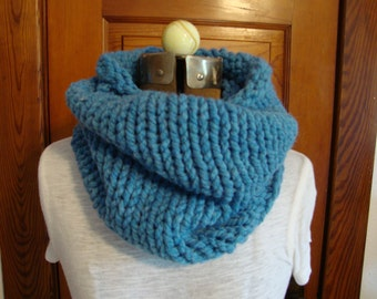 Cowl Hand Knitted in a Fun Blue Color