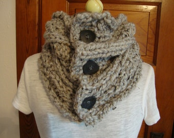 Cowl Hand knitted in a Grey Marble color with Buttons