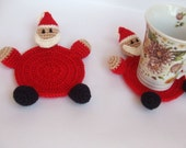 crochet amigurumi cute Father Christmas coasters, handmade , enjoy coffee. FREE SHIPPING