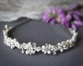 ELVINA, Bridal Headband, Freshwater Pearl and Rhinestone Bridal Headband, Crystal Wedding Headband, Wedding Bridal Hair Accessories