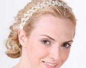 CLARISSA, Victorian Wedding Bridal Headband, White or Ivory Pearl and Crystal Bridal Halo Headband, Vintage Style Flower Wedding Accessories