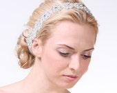LILIA, Grecian Rhinestone Beaded Bridal Headband, Vintage Wedding Bridal Headband, Silk Ribbon Wedding Headband, Bridal Wedding Halo