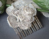 ROSABEL, Vintage Inspired Crystal Rhinestone Rose Bridal Hair Comb, Art Deco Wedding Hair Accessories, Old Hollywood Wedding Hair Comb