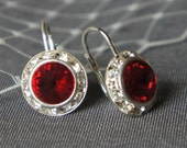 MONIQUE, Vintage Style SWAROVSKI Crystal RIVOLI Earrings - Available in Many Colors - Classic Rhinestone Bridal Earrings, Wedding Jewelry