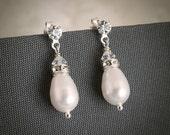 Wedding Earrings, Bridal Earrings, Swarovski Pearl and Crystal Bridal Stud Earrings, Modern Vintage Style Bridal Wedding Jewelry, KATIE