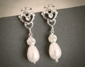 CARLEEN, Vintage Style Rhinestone and Pearl Bridal Wedding Stud Earrings, Victorian Wedding Bridal Earrings with Teardrop and Crystal Ball