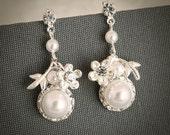 JAMIE, Wedding Bridal Earrings, Flower Leaf Rhinestone Wedding Earrings, Crystal Rivoli Chandelier Earrings, Dangle Stud Bridesmaid Earrings
