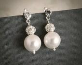 Swarovski Pearl Drop Bridal Earrings, Crystal Wedding Earrings, Dangle Stud Earrings, Modern Vintage Style Bridal Jewelry, CARINA