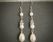 RAIN DROP, Swarovski Crystal and Pearl Wedding Bridal Earrings, Bridesmaid Jewelry, Pearl Drop Bridesmaids Earrings, White, Ivory, Champagne