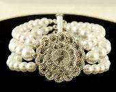 ERNA, Vintage Style Wedding Bridal Bracelet, Ivory, White Pearl and Crystal Bridal Wedding Bracelet, Victorian Flower Wedding Bridal Jewelry