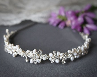 Bridal Headband, Crystal Leaf Vine Wedding Headband, Freshwater Pearl and Rhinestone Bridal Headband,Wedding Bridal Hair Accessories, ELVINA