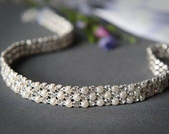 RUBY - Bridal Crystal and Pearl Headband, Rhinestone Wedding Headband, Grecian Ribbon Headband, Vintage Style Wedding Bridal Hair Accessory