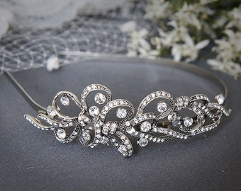 TEGAN, Vintage Inspired Art Deco Swarovski Crystal Statement Bridal Headband - Also Avail. in Pearl Version - (Signature Collection)