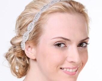 CHELSEA - Bridal Crystal Headband, Wedding Rhinestone Headband, Grecian Crystal Wedding Headband, Oval Rhinestone Headband, Bridal Accessory