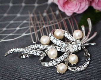 Bridal Hair Comb, SWAROVSKI Crystal and Pearl Wedding Hair Comb, Vintage Inspired Wedding Hair Comb, Bridal Wedding Hair Accessory, FENELLA
