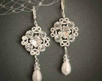 Set of FIVE (5 or 5+), Crystal Bridal Earrings, Wedding Earrings, Dangle Earrings, Swarovski Pearl Earrings, Bridesmaids Earrings, WHALEY