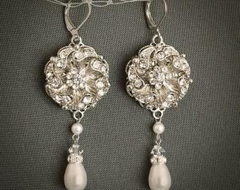 Bridal Earrings, Swarovski Pearl Wedding Earrings, Silver Filigree Dangle Earrings, Crystal Earrings, Vintage Style Bridal Jewelry, EDRRA