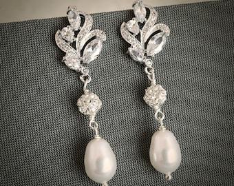 BERENICE, Vintage Style Bridal Earrings, Silver Filigree Leaf Bridal Stud Earrings, Zirconia and Pearl Drop Wedding Earrings, Old Hollywood