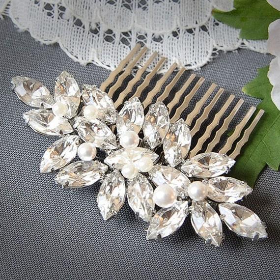 Wedding Hair Comb, Crystal Bridal Hair Comb, Marquise Leaf Bridal Wedding Hair Pin, Swarovski Pearl Hair Accessory, Vintage Glamour, YUDELLE