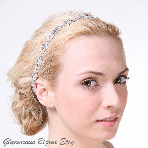 50% OFF SALE, Wedding Crystal Headband, Bridal Headband,Oval Crystal Wedding Headpiece,Boho Silk Satin Ribbon Headband, Vintage Style, REINA