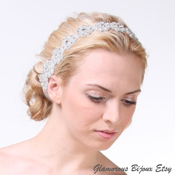 LILIA, Grecian Rhinestone Beaded Bridal Headband, Vintage Wedding Bridal Headband, Silk Ribbon Wedding Headband, Bridal Wedding Halo