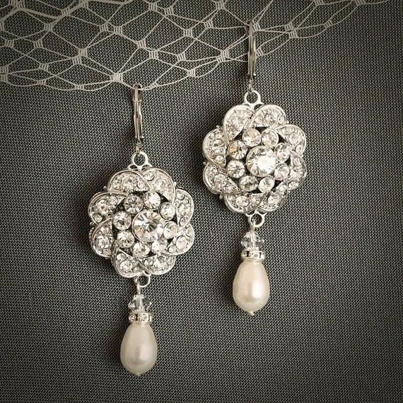 Ezina vintage style wedding earrings teardrop by for Vintage sites like etsy
