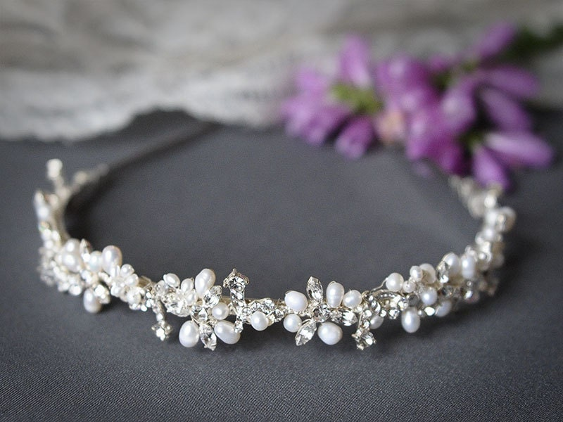 Bridal Headband Crystal Leaf Vine Wedding Headband
