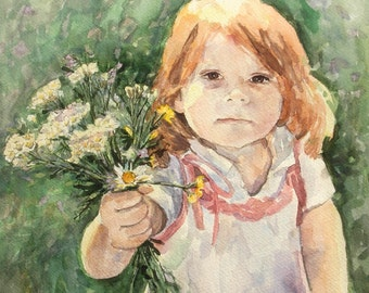 Custom Children's Portrait, Original Watercolor Painting 16X20