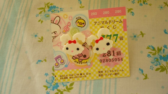 After Easter Sale Mini Puffy Marshmellow Easter Bunny Kawaii Earring Studs