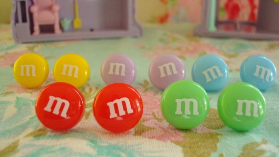 M&M Chocolate Candy Kawaii Earring Studs Various Colors Light Pink Ones Left