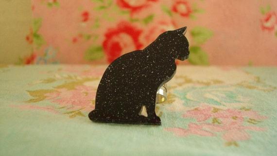 Sitting Black Cat Silhouette Kawaii Ring OOAK