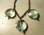 Repurposed Vintage Jewelry Necklace - Three Sea Green Faceted Coin Beads