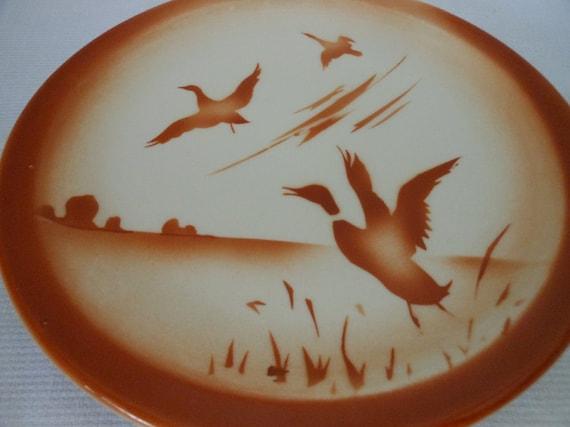 "3 Syracuse Econo-Rim Airbrush Ducks & Marsh 9"" Plates Restaurant Ware"