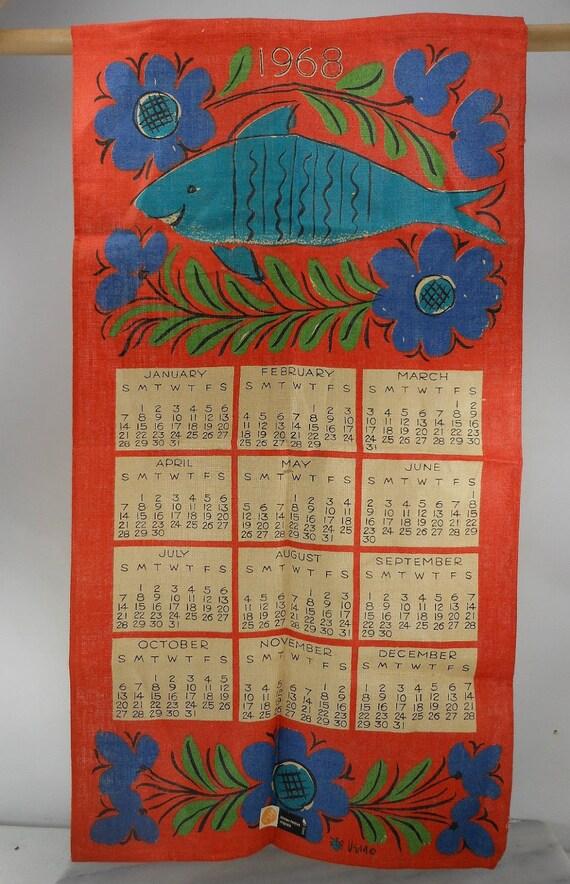 VERA NEUMANN 1968 Linen Calendar Towel Fish Flowers Orig Tag