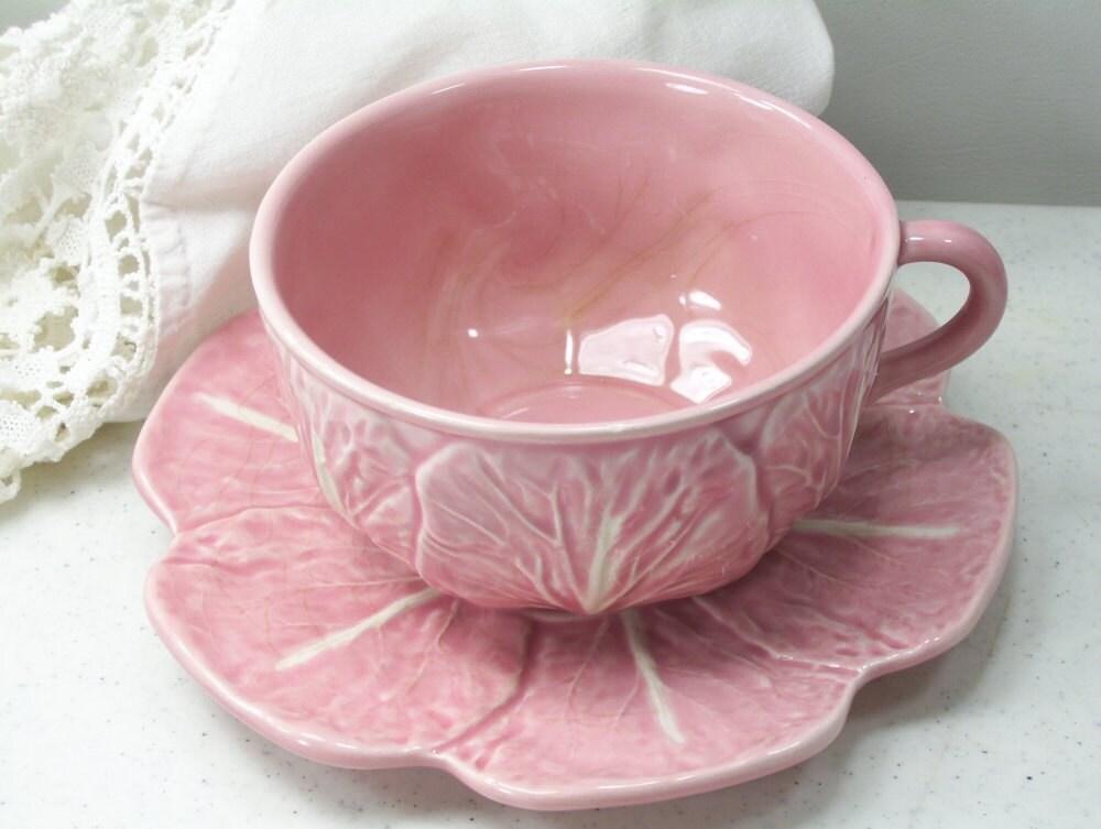 Vintage bordallo pinheiro pink cabbage 4 cup saucer - Bordallo pinheiro portugal ...