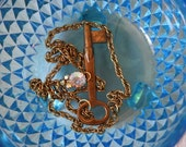 RESERVED for AlisonStowe - She Holds a Key Necklace - Vintage Brass Key with Sparkling Crystal Cluster