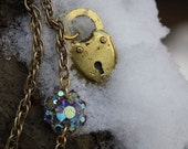 RESERVED for AlisonStowe - Love Story Necklace - Brass Heart Shaped Lock with Crystal Flower Accent