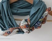 Jersey Cotton Scarf - Infinity Multi Strand - in Dusky Teal - with a Vintage Kerchief Accent - Orange and Blue Floral
