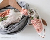 Jersey Cotton Scarf - Infinity Scarf - in Heather Gray - with a Vintage Kerchief Accent - Blush and Gray Floral