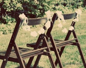Fabric Flower Chair Garlands- 2pcs- White Muslin Blossoms - 6 blossoms per garland- Wedding or Home Decor