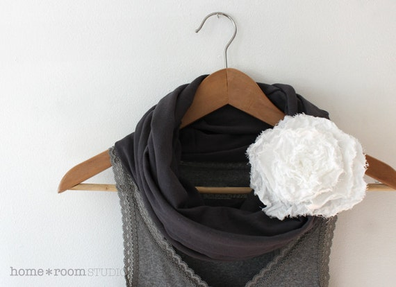 Jersey Knit Infinity Scarf- Steel Gray - with Jumbo Poppy Blossom - White Muslin - 100% Cotton - Brooch and Clip