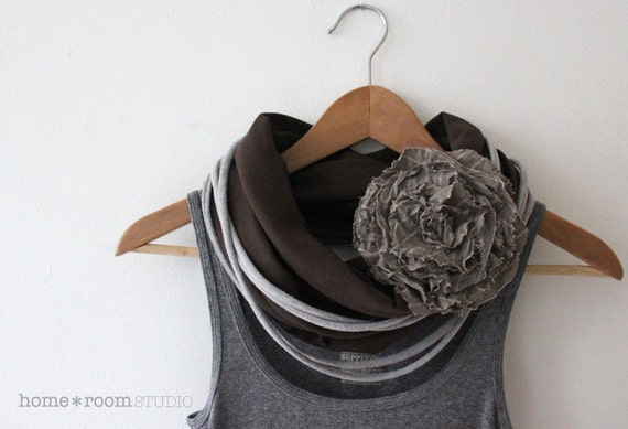 Jersey Knit Infinity Scarf -  Coffee Brown - with Jersey Strand Necklace Accent - Heather Gray - and a Sable Stripe Flower Pin