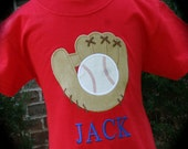 """Take me out to the ballgame ...  """"Baseball and Mitt"""" Appliqued Shirt - Embroidered Personalized Custom Monogrammed"""