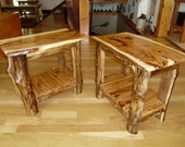 table/ side table/ end table/Pair of Custom Built/ Live edge/ Rustic/ Hickory/ Walnut/