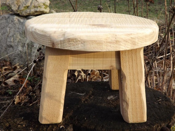 Stool rustic round plant stand by