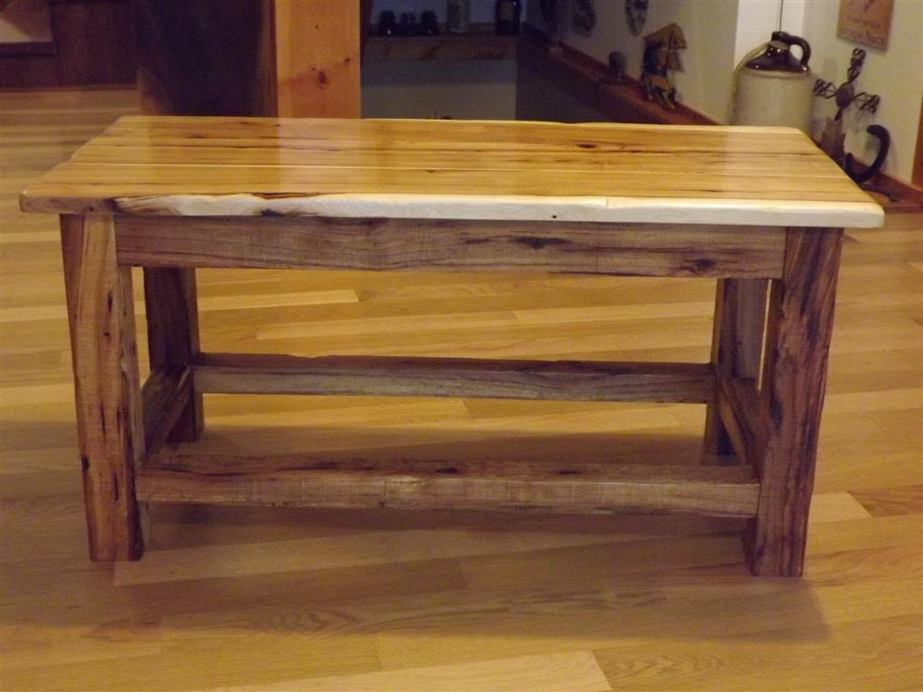Bench Coffee Table Rustic Hickory
